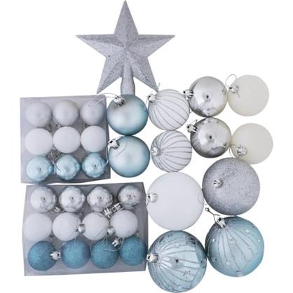 Украшение Новогоднее Пластик Цвет Серебристый/Зеленый 34 Шт. цена